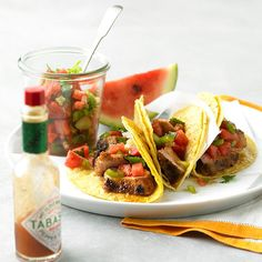 #5: Use It in SalsaHomemade salsa is the key to any stellar taco. Top your next batch of chipotle-dusted pork tacos with our spicy-sweet salsa, featuring chopped banana, Anaheim peppers, fresh cilantro, and yours truly: watermelon