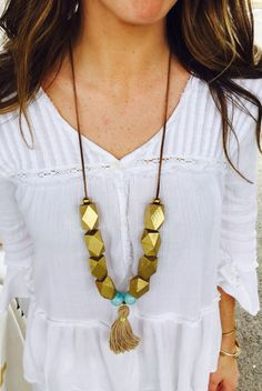 Chunky wood + leather tassel necklace. Anna Blair Publow jewelry designs