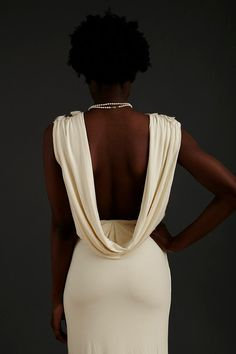 LOVING this Sustainable Cowl Back Bamboo  wedding dress!