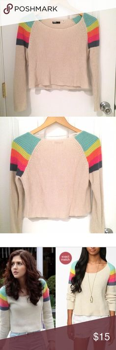 BDG rainbow sweater Cute cropped knit sweater with striped shoulders. Gently used BDG Sweaters Crew & Scoop Necks