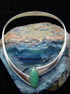 Necklace | Sigi Pineda.  Sterling silver and aventurine gemstone.  ca. 1950s