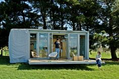 """Port-a-Bach Shipping Container Holiday Home. A bach """"is the name given in New Zealand to structures akin to small, often very modest holiday homes or beach houses. Shipping Container Buildings, Used Shipping Containers, Shipping Container Cabin, Container House Plans, Cargo Container, Container Office, Container Architecture, Mobile Architecture, Sustainable Architecture"""