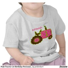 Pink Tractor 1st Birthday Personalized Tee Shirt