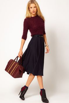I'm loving the oxblood and navy blue combos this fall.  I just want to pair a camel colored bag with this and perfecto!