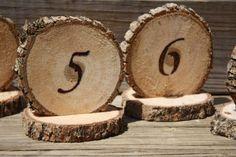 Rustic Tree Slice Wedding Table Numbers with wood slice base, Burned Numbers, place holder. $5.95, via Etsy.