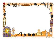 Ancient Egypt Page Borders Egyptian Crafts, Egyptian Party, Ancient Egypt Activities, Horrible Histories, World Thinking Day, Magic Treehouse, Page Borders, Egypt Art, Mystery Of History