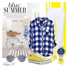 Blue Summer by shannonholcombe70 on Polyvore featuring polyvore fashion style Rails J Brand Converse Marc by Marc Jacobs 2b bebe