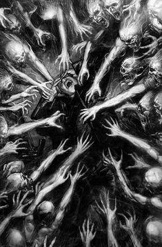 Creepy Drawings, Dark Art Drawings, Dark Artwork, Arte Horror, Horror Art, Dark Fantasy Art, Dark Art Illustrations, Illustration Art, Beautiful Dark Art