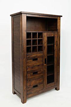 Coolidge Corner Wood 3 Assembled Drawers & Cabinet Wine Pantry