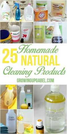 Looking to clean your house naturally? Check out these 25 homemade natural cleaning products! These DIY recipes are great for kitchens, bathrooms, floors, bathtubs, showers and the entire house! Made with ingredients like essential oils, vinegar, and baking soda, they are cheap and easy to make.