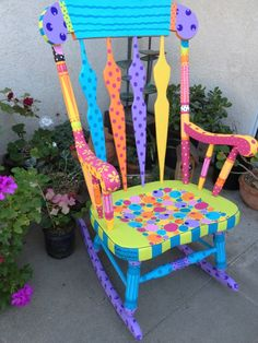LOVE this rocking chair! Would love to paint mine but my daughter wants it in oringinal condition for when she has her baby. emily the hopeFULL rocking chair. by rebecca waring-crane Painted Rocking Chairs, Hand Painted Chairs, Whimsical Painted Furniture, Hand Painted Furniture, Funky Furniture, Colorful Furniture, Paint Furniture, Repurposed Furniture, Furniture Makeover