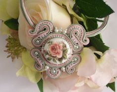 Soutache necklace, pink, green and cream, flower center by MollyG Designs. Spring jewellery. Wedding necklace. Mothers Day gift.