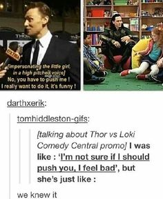 Tom Hiddleston should be persuaded to push a little girl for an advertisement . - Tom Hiddleston should be persuaded to push a little girl for an advertisement … by …, - Tom Hiddleston Gentleman, Tom Hiddleston Loki, Dc Memes, Marvel Memes, Will Ferrell, Loki Laufeyson, Benedict Cumberbatch, Marvel Universe, Thor