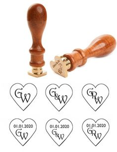 Monogram Heart Shaped Wedding Wax Seal Stamp
