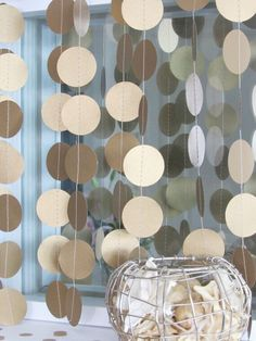 Shimmery Gold Paper Garland - Metallic Gold Garland - Gold Wedding Decor by LucyBirdy on Etsy https://www.etsy.com/listing/198454166/shimmery-gold-paper-garland-metallic