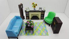 Plasco Living Room Fireplace Sofa TV Grandfather Clock and Arm chair Doll House Toy Plastic Livingroom Den Cozy Decor Miniature