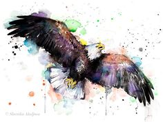 Watercolor Bird, Watercolor Animals, Watercolour Painting, Painting Prints, Eagle Painting, Aquarell Tattoo, Eagle Art, Mountain Tattoo, Art Mural