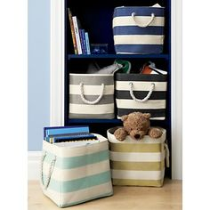 Sale ends soon. Shop Stripes Around Grey Cube Bin. Clutter around the house? Try our Stripes Around the Cube Bins. They have natural rope handles and are available in five different colors so you can move them around and match your décor. Large Toy Storage, Small Space Storage, Cube Storage, Storage Bins, Toy Storage Solutions, Bedroom Storage Ideas For Clothes, Home Office Storage, Clothing Storage, Closet Ideas