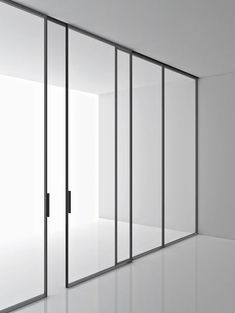 Super minimal sliding door and window frames. Green by Piero Lissoni for Boffi. Inspiration Baden Baden Interior Interior Architecture, Interior And Exterior, Modern Interior, Door Design, House Design, Glass Partition Wall, Boffi, Internal Doors, Sliding Doors