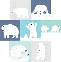 polar bear digital clip art.