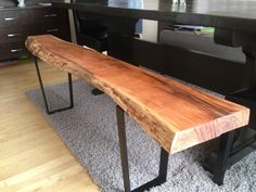 Live Edge Table with hairpin legs, Live Edge Coffee table with metal legs, Rusti.