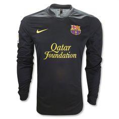 11/12 Barcelona Black Away Long Sleeve Soccer Jersey Shirt Replica