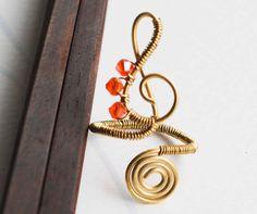Treble Clef Note Orange Crystal Brass Wire by jeanninehandmade
