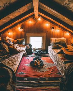 A cozy cabin bedroom in the forest. Cabin Homes, Log Homes, Attic Bedrooms, Cabin Bedrooms, Hippie Bedrooms, A Frame House, Cabins And Cottages, Log Cabins, Attic Spaces
