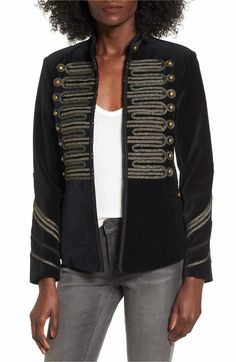 Women's Blanknyc Velvet Band Jacket - Reminds me of the Beatles: Sgt. Peppers Lonely Hearts Club Band :-) Smooth velvet jacket embellished with gleaming buttons and intricately arranged cord. Velvet Jacket, Tweed Jacket, Nordstrom Jackets, Nordstrom Sale, Band Jacket, Military Style Jackets, Outdoor Wear, Nordstrom Anniversary Sale, Blank Nyc