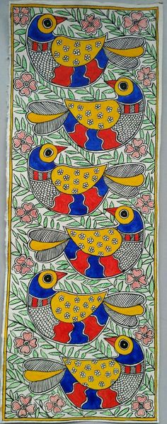 Items similar to Les Six - Handmade Madhubani Painting on Etsy Madhubani Paintings Peacock, Kalamkari Painting, Madhubani Art, Indian Art Paintings, Oil Paintings, Worli Painting, Fabric Painting, Bottle Painting, Art Installation