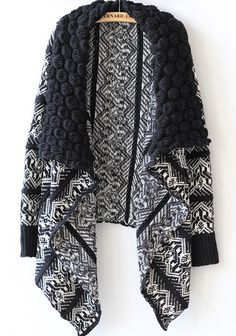 Black Floral Print Draped Bat Sleeve Turndown Collar Loose Casual Fashion Kimono