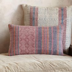 "SUNFARER STRIPE RECTANGLE PILLOW -- An exotic, world mix of block-printed patterns using environmentally friendly materials of cotton with feather down fill. Each is unique. This pillow will accent any décor. Plain canvas back, zip closure. Imported. 12"" x 20""."