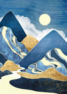 Moon River Art Print by spacefrogdesigns Arte Lowbrow, Landscape Art Quilts, Landscapes, Guache, Mountain Art, Art Graphique, Art Plastique, Abstract Art, Abstract Landscape