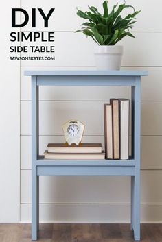 This DIY side table is an EASY project and a smart choice for any room that needs a little extra storage. Perfect for a bedroom, living room, family room, or even outdoors. Download the free plans now! #sawsonskates Diy Projects Plans, Diy Home Decor Projects, Easy Projects, Pallet Projects, Project Ideas, Diy Furniture Plans, Inexpensive Furniture, Furniture Refinishing, Furniture Making