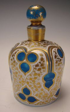 Antique French Gilt Blue Opaline Napoleon III Perfume Scent Bottle, mid 1800's