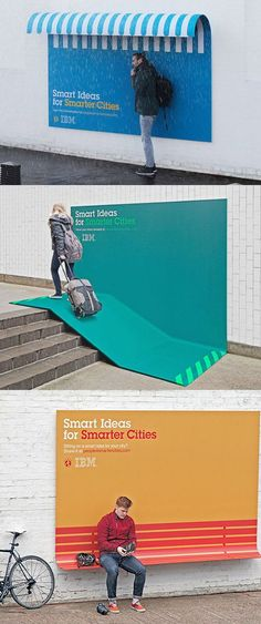 Ogilvy & Mather France took the concept of the billboard and bent it into shapes that could – with some effort – be seen as solutions for a somewhat smarter city, Paris in this case. A board bends to become a bench, a rain shelter or a ramp over stairs. more info here: http://www.thecoolhunter.net/article/detail/2180/ibms-smater-cities-billboard-campaign …: