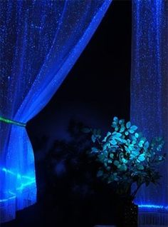 light up curtains= I don't need a night light........could be done with glow in the dark paint