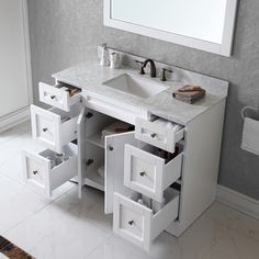 Virtu USA Elise 48 inch Single Sink White Vanity with Carrara White Marble Countertop with Backsplash | Overstock.com Shopping - Great Deals...
