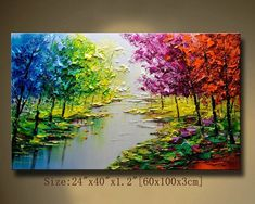 contemporary wall art palette knife painting colorful landscape painting wall decor home decor acrylic textured painting ON canvas Chen DDDK Texture Painting On Canvas, Palette Knife Painting, Canvas Art, Textured Painting, Canvas Ideas, Acrylic Landscape, Landscape Paintings, Oil Paintings, Colorful Trees