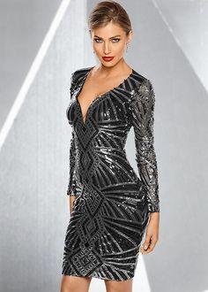 Venus Women's All Over Sequin Party Dress - Black/metallic