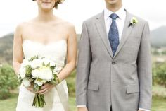 bride, strapless wedding dress, lace wedding dress, Jim Hjelm, wedding bouquet, Holly Flora, groom, gray suit, blue tie, boutonniere, white wedding details, green wedding details