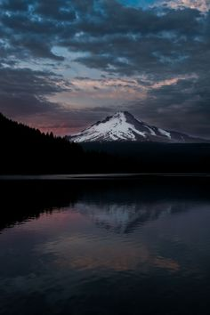 A beautiful evening in the Cascade Mountains. Mt Hood towers over the peaceful Trillium Lake // Oregon