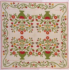 Quilt Pieced, quilted, and appliquéd cotton by Amanda Rand King (United States, active century). Image and text courtesy LACMA Costume and Textiles Old Quilts, Vintage Quilts, Aplique Quilts, Medallion Quilt, Flower Quilts, Quilt Border, Sampler Quilts, Green Quilt, Cat Quilt
