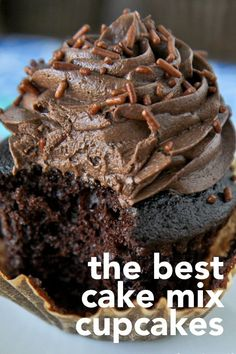 Delicious and easy chocolate cake mix cupcakes are so simple to make, but the flavor is anything but simple! #chocolate #cupcakes #cake #cakemix #cakemixcupcakes #dessert #baking #recipe #cupcakerecipes #easycupcakes