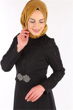 Dantel Tesettür Abiye Elbise Siyah SRN 6116