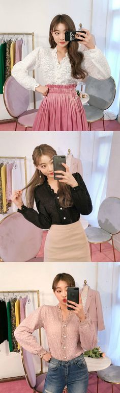 chuu - Faux-Pearl Button Lace-Trim Cardigan #koreanfashion #koreanstyle #chuu #lace