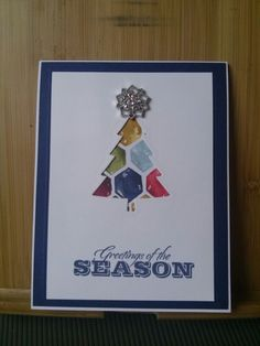 Season of Cheer; Greetings of the Season SS (retired); Perfect Pines framelits; Frosted Finishes. Karen Jurisch Stampin Up.