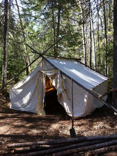 Canvas wall tent with wood stove look at these great for Woods prospector tent
