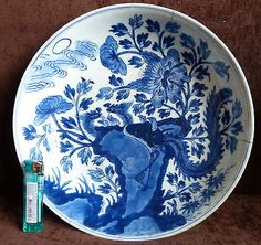 ANTIQUE CHINESE KANGXI PERIOD BLUE & WHITE PORCELAIN LARGE CHARGER PLATE in Antiques, Asian/ Oriental Antiques, Chinese | eBay