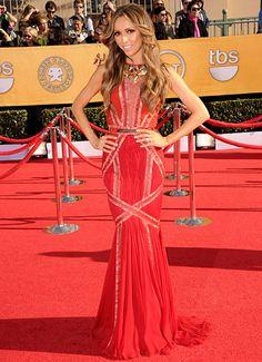 Giuliana Rancic in a beautiful red Basil Soda gown